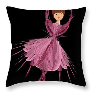 6 Pink Ballerina Throw Pillow by Andee Design