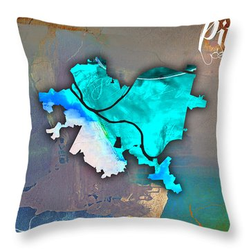 Pittsburgh Map Watercolor Throw Pillow