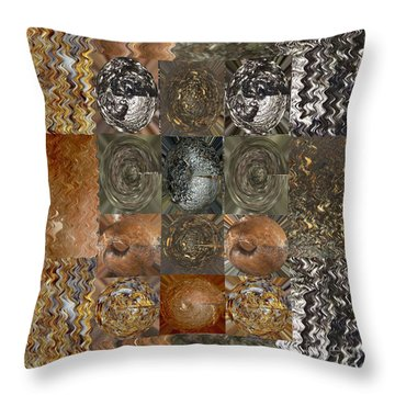 Rareearth Rare Earth Stones Minerals Microphotography Micro Photography Tiled Square Silver Chrome B Throw Pillow