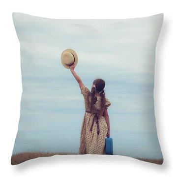 Refugee Girl Throw Pillow by Joana Kruse