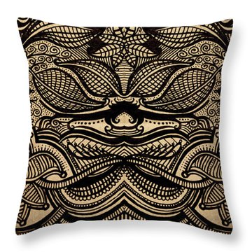 Sharpie On Cardboard Throw Pillow by HD Connelly