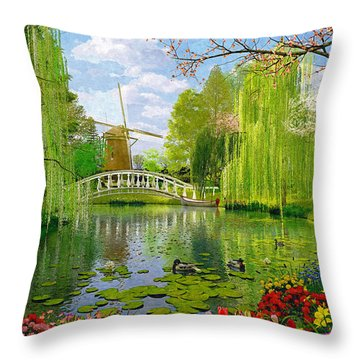 Windmill Lake Throw Pillow