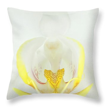 White Orchid-3 Throw Pillow