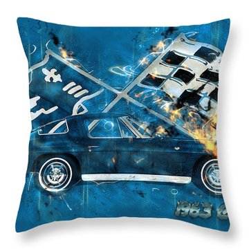 63 Stingray Corvette Throw Pillow by Andre Voss