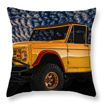69 Ford Bronco 4x4 Restoration Throw Pillow