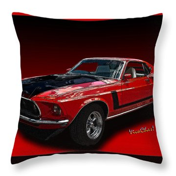 69 Mustang Mach 1 Throw Pillow