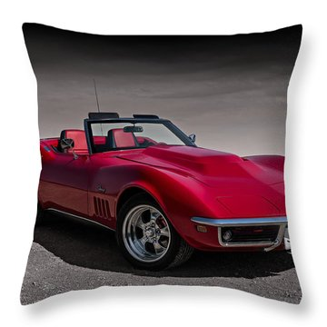 69 Red Stingray Throw Pillow
