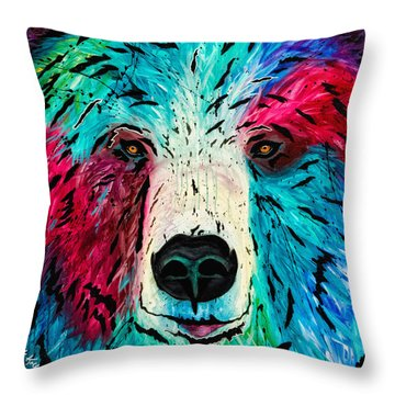 Throw Pillow featuring the painting Bear by Dede Koll