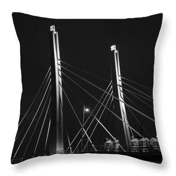 6th Street Bridge Black And White Throw Pillow