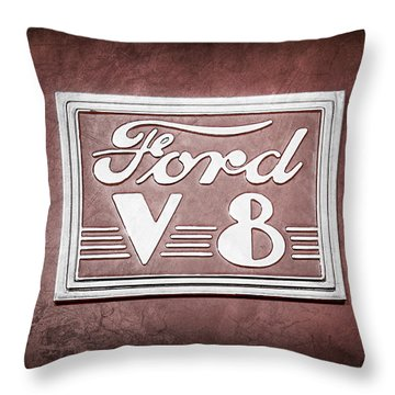 1940 Ford Deluxe Coupe Emblem Throw Pillow