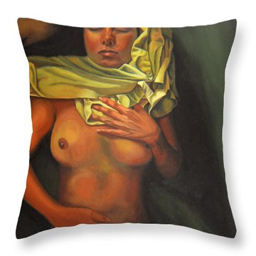 Throw Pillow featuring the painting 7 30 A.m. by Thu Nguyen