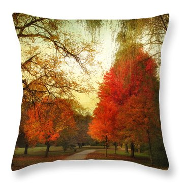 Throw Pillow featuring the photograph Autumn Promenade by Jessica Jenney