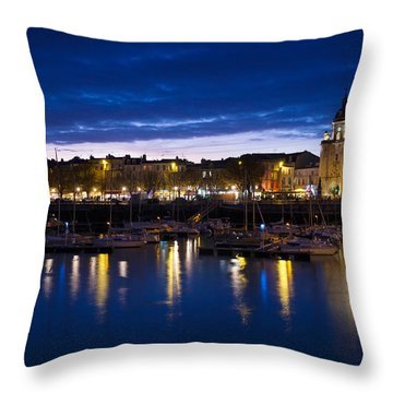 Buildings At The Waterfront Lit Throw Pillow