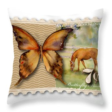 7 Cent Butterfly Stamp Throw Pillow by Amy Kirkpatrick