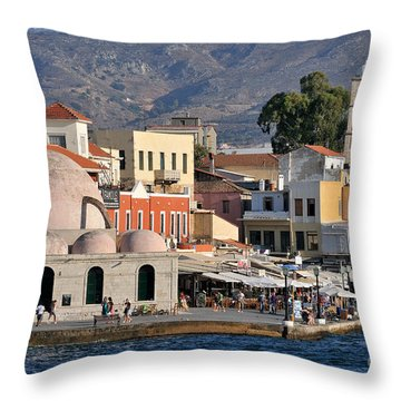Chania City Throw Pillow