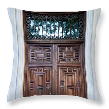 Distinctive Doors In Madrid Spain Throw Pillow