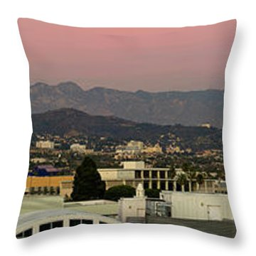 Elevated View Of Buildings In City Throw Pillow