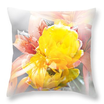 Throw Pillow featuring the photograph Flower Burst by Gunter Nezhoda