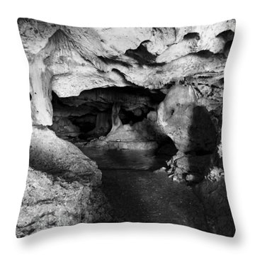 Green Grotto Caves Throw Pillow by Bill Howard
