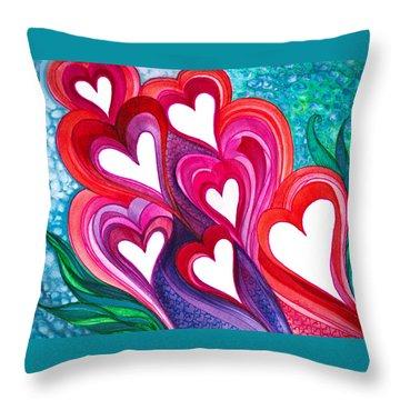 7 Hearts Throw Pillow