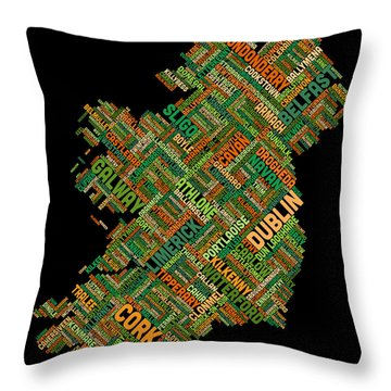 Ireland Eire City Text Map Throw Pillow
