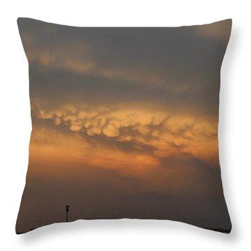 Nebraska Mammatus Sunset Throw Pillow