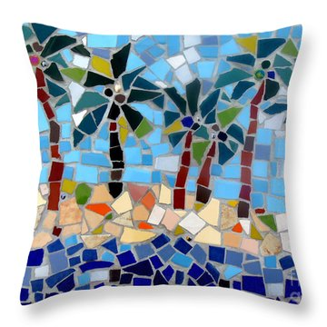 7 Palm Trees Mosaic Throw Pillow by Lou Ann Bagnall