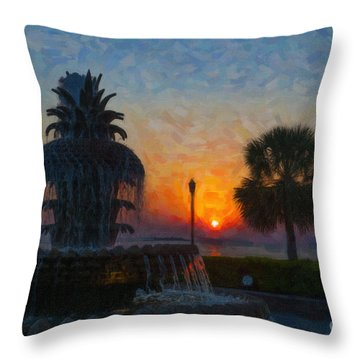 Pineapple Fountain At Dawn Throw Pillow