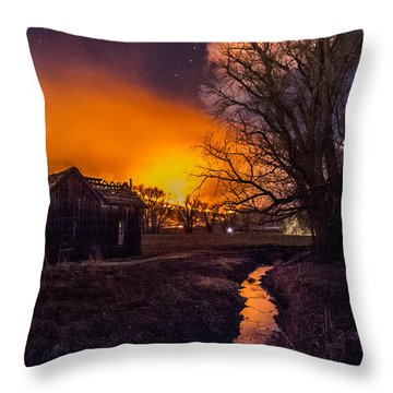 Round Fire Throw Pillow