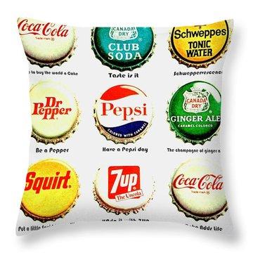 70s Soft Drink Slogans Throw Pillow