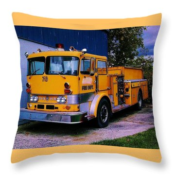 Throw Pillow featuring the photograph 710 ....... Fire Dept. by Daniel Thompson