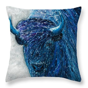Throw Pillow featuring the painting Buffalo  - Ready For Winter by Dede Koll