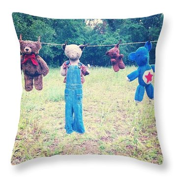 Bears On The Line Throw Pillow