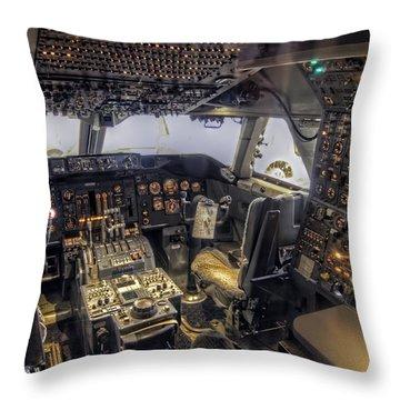 747 Cockpit Throw Pillow