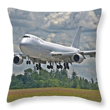 Throw Pillow featuring the photograph 747 Landing by Jeff Cook