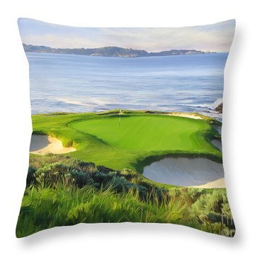 7th Hole At Pebble Beach Throw Pillow