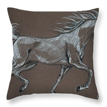 Arabian Horse  Throw Pillow by Angel  Tarantella