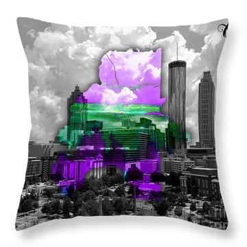 Atlanta Map And Skyline Watercolor Throw Pillow by Marvin Blaine
