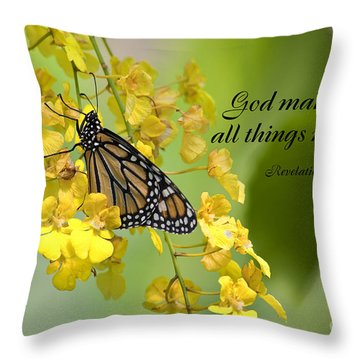 Butterfly Scripture Throw Pillow
