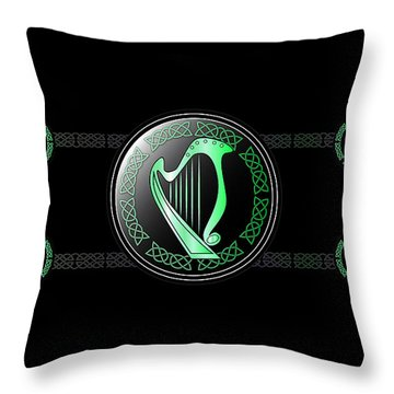 Celtic Harp Throw Pillow