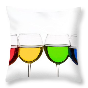 Colorful Wine Glasses Throw Pillow