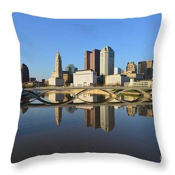 Fx1l-1058 Columbus Ohio Skyline Photo Throw Pillow