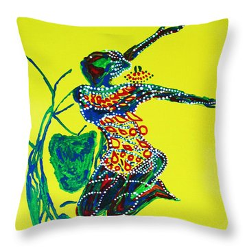 Dinka Dance - South Sudan Throw Pillow by Gloria Ssali