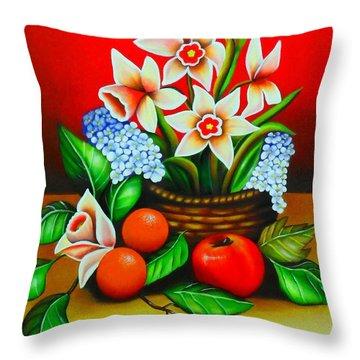 Garden Delights Throw Pillow by Monica  Vega
