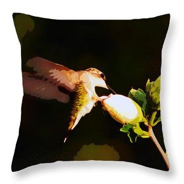 Throw Pillow featuring the photograph Hummingbird by John Freidenberg