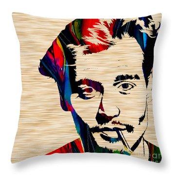 Johnny Depp Throw Pillow by Marvin Blaine