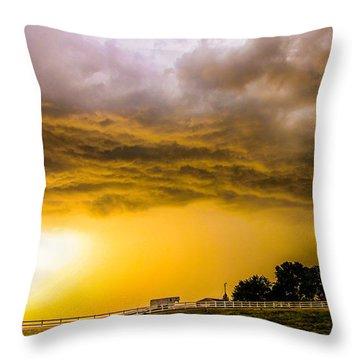 Late Afternoon Nebraska Thunderstorms Throw Pillow