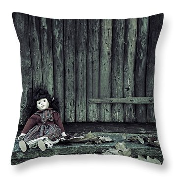 Old Doll Throw Pillow by Joana Kruse