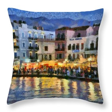 Painting Of The Old Port Of Chania Throw Pillow