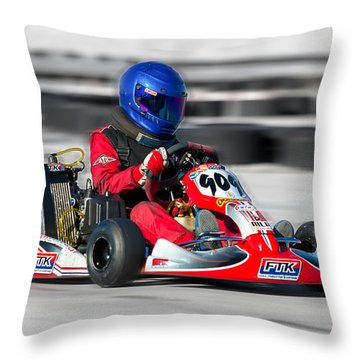 Throw Pillow featuring the photograph Racing Go Kart by Gunter Nezhoda